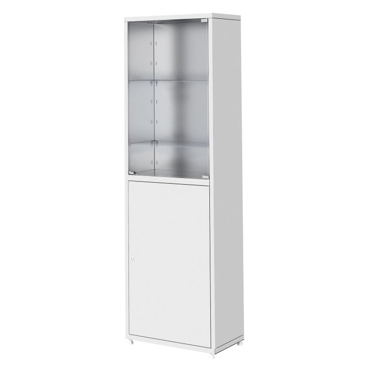 Шкаф металлический медицинский двухсекционный, одностворчатый ШМ-01-«МСК» верхняя секция – стекло, нижняя – металл (код МСК-645.02)